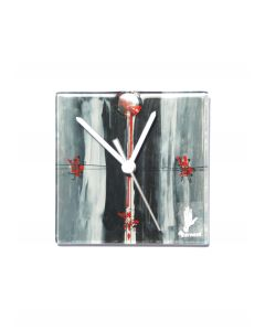 Sombre gray-red wall clock 13x13 cm